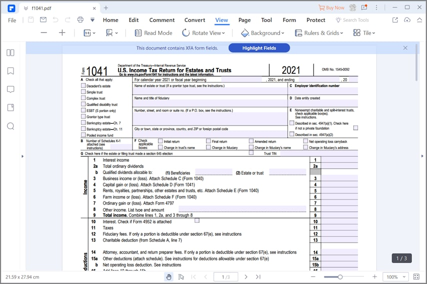 irs form 1041 instructions