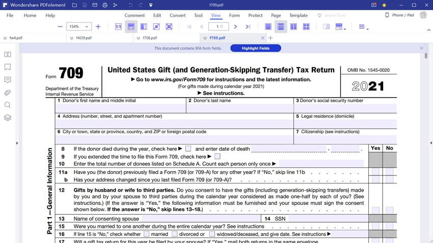 irs form 709 instructions