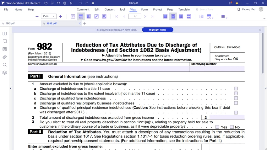 irs form 982 instructions