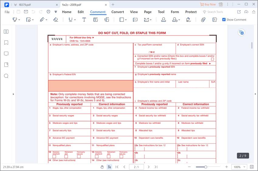 instruções para o formulário w-2c do irs