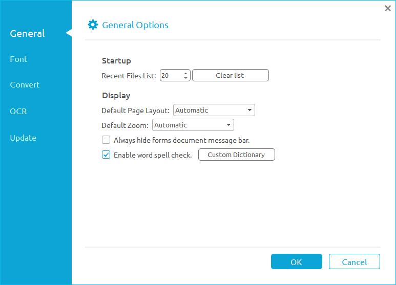 opções do arquivo