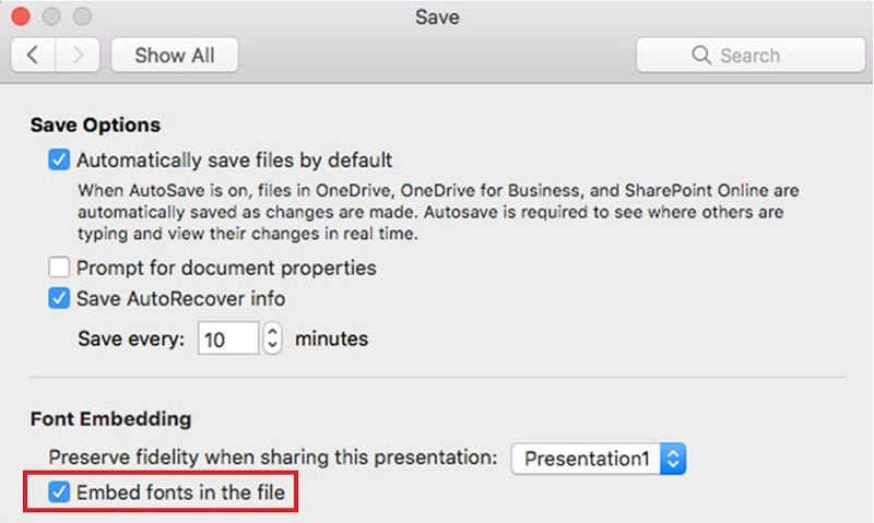 embed font in ppt on mac
