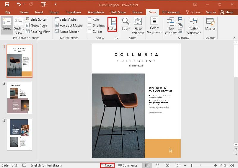 add notes in PowerPoint