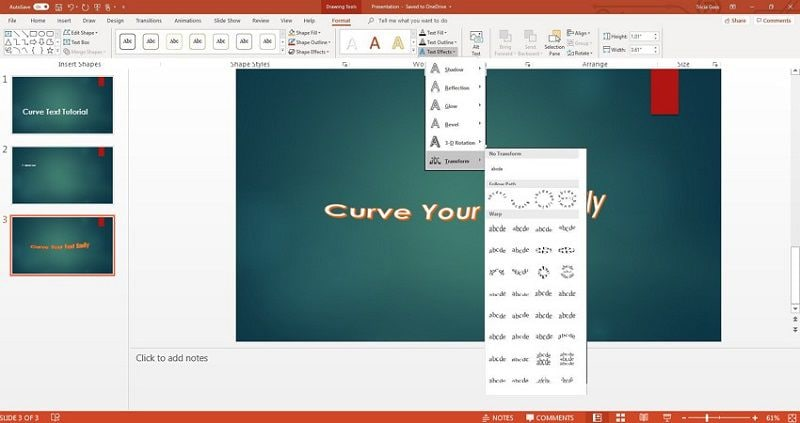curve text in powerpoint mac