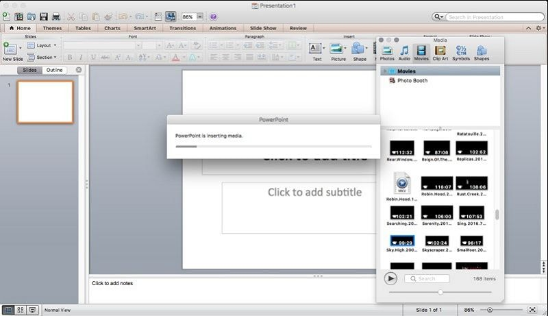embed video in powerpoint mac