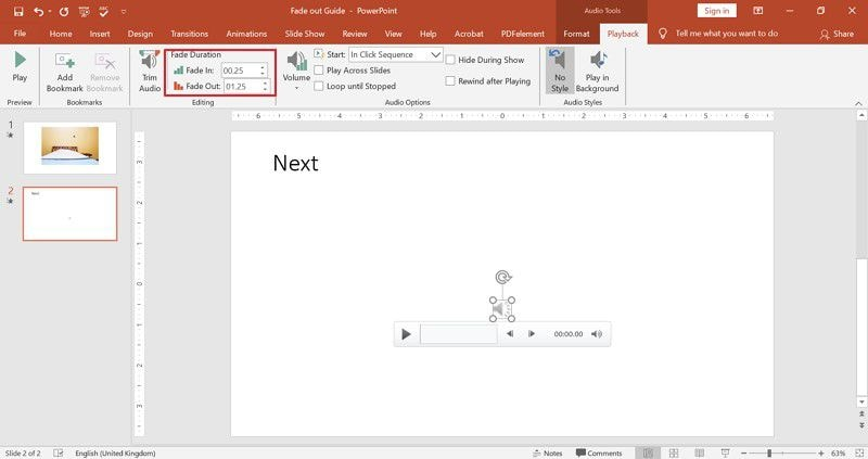 fade music in PowerPoint