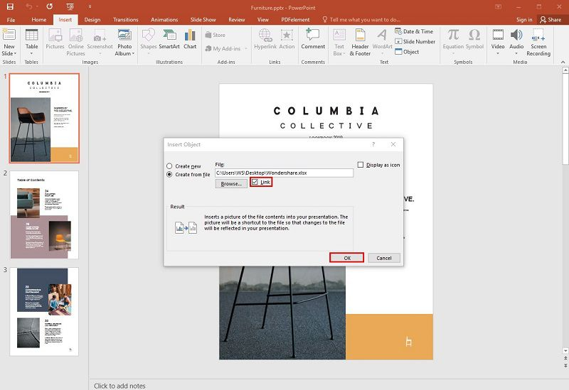 link excel to powerpoint