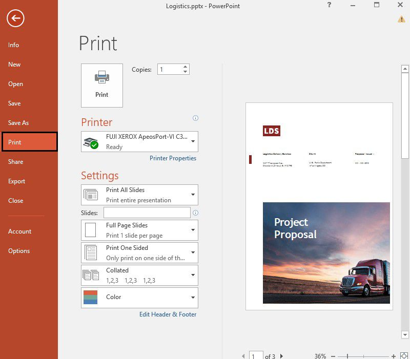 print multiple slides