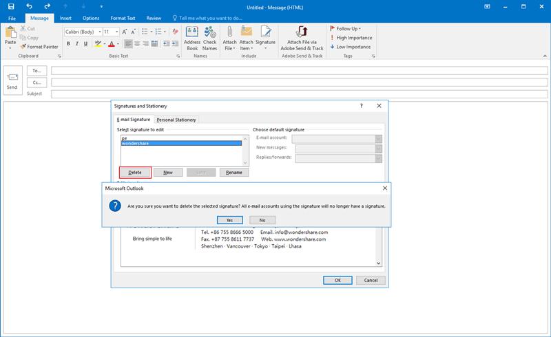 Signatur aus Outlook entfernen