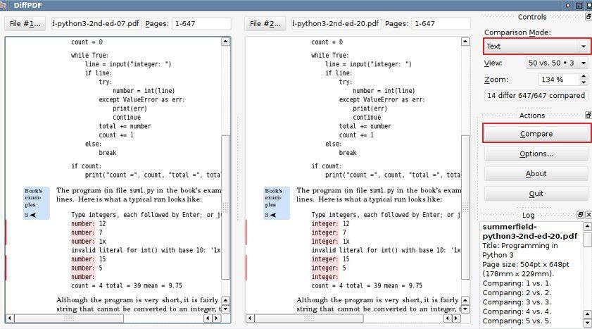 comparador de pdfs no linux