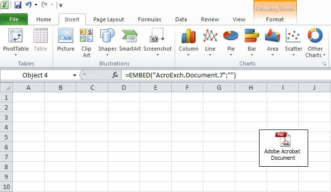 attach pdf to excel