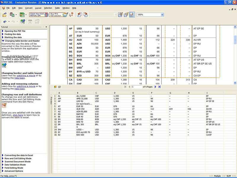 convertisseurs pdf pour bureau de PDF au format Excel