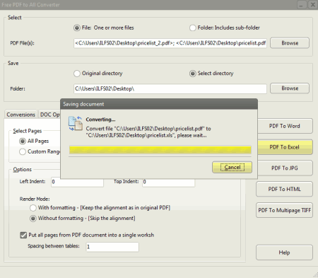 PDF para Excel código aberto