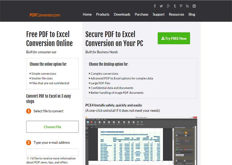 convertisseurs en ligne de PDF en Excel