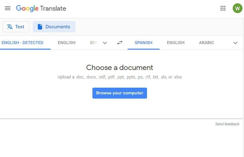 google translate pdf