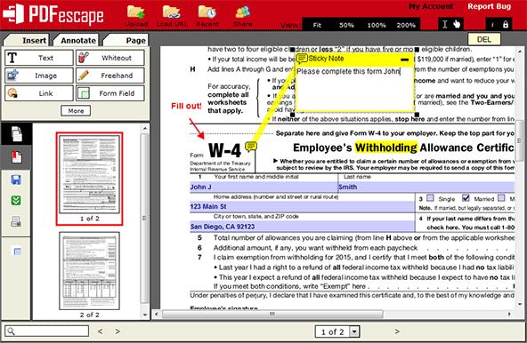 Remplir un formulaire pdf en ligne