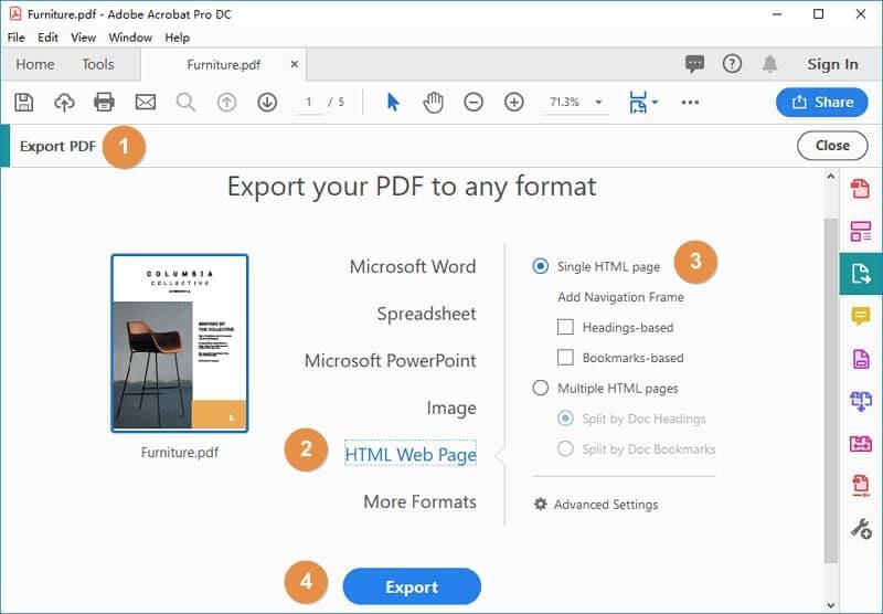 convert pdf to html adobe
