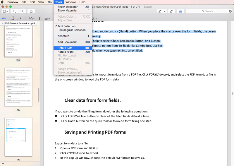 Rotar un archivo PDF con Preview en Mac El Capitan