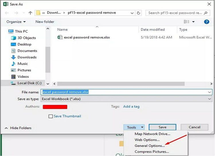 remove password protection from excel