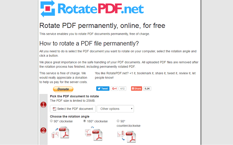 online pdf rotate and save