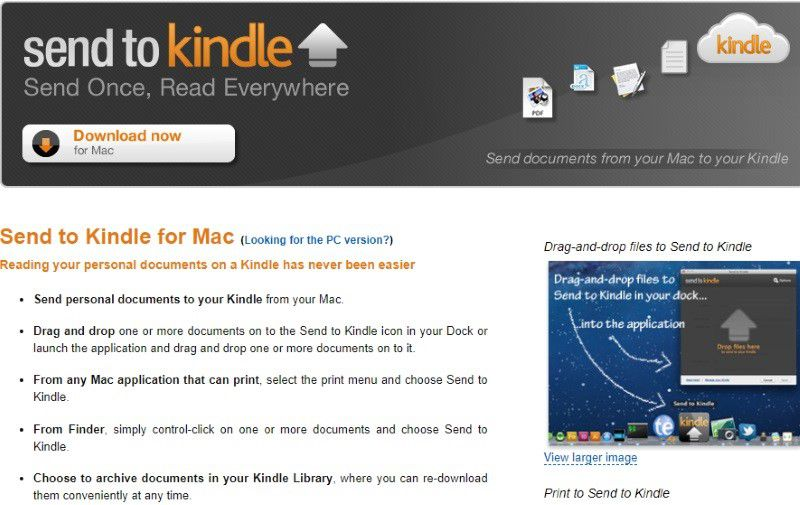 transfer pdf to kindle mac