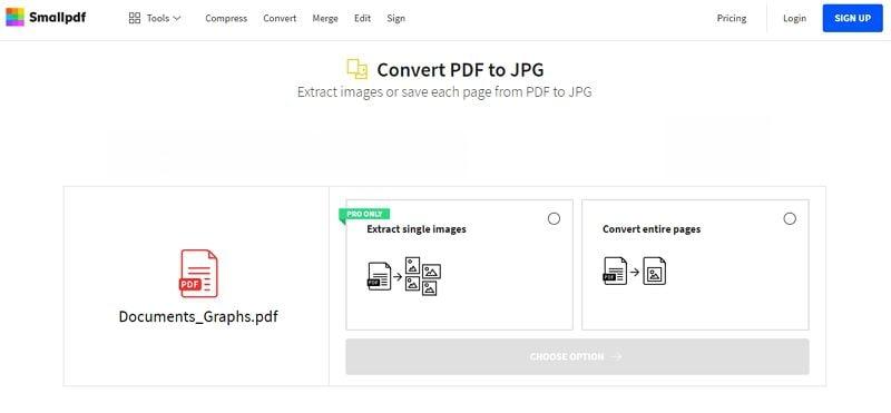 PDF a jpg con smallpdf