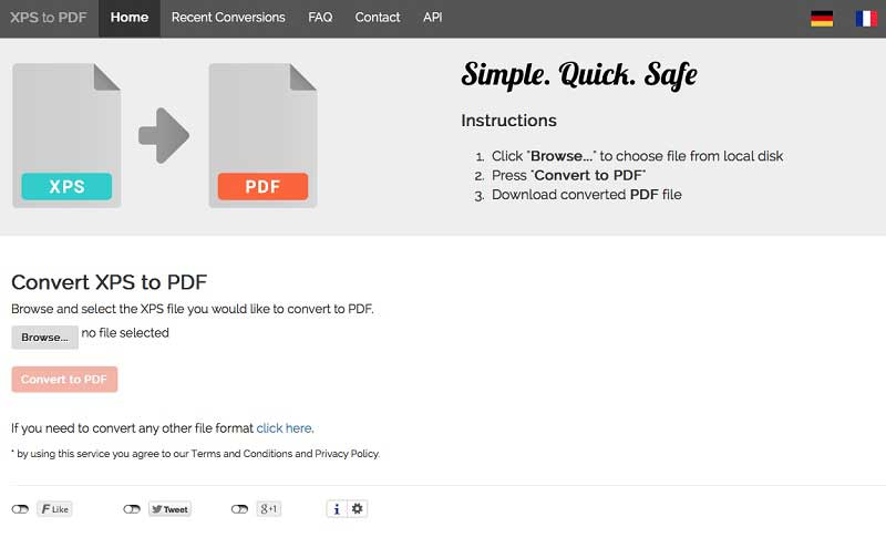 Konvertieren Sie XPS in PDF Online