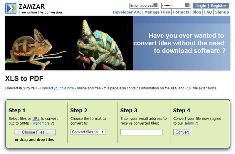 online xls zu pdf Konverter