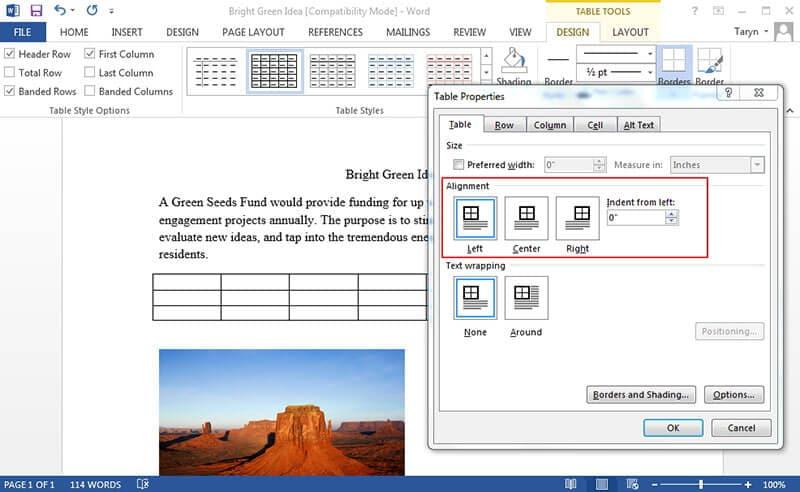alineación vertical de Microsoft Word