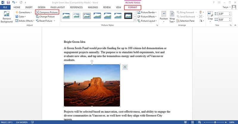 come modificare un'immagine con word