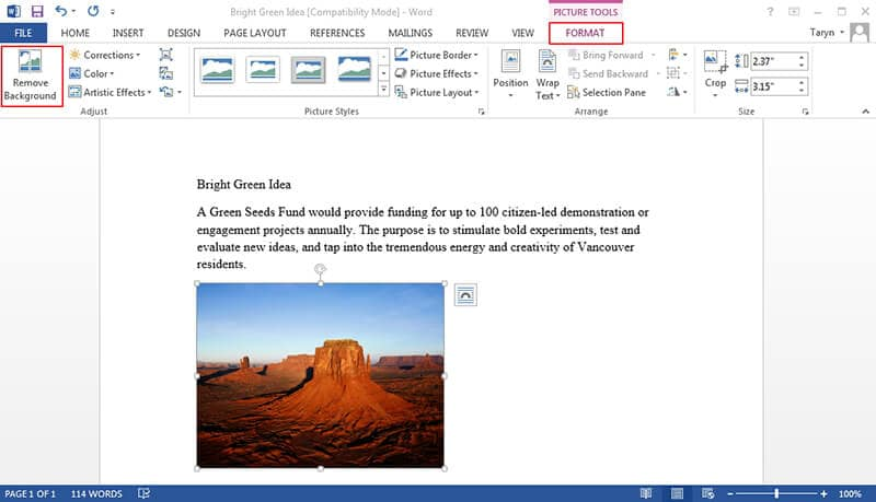 como editar imagem no documento word
