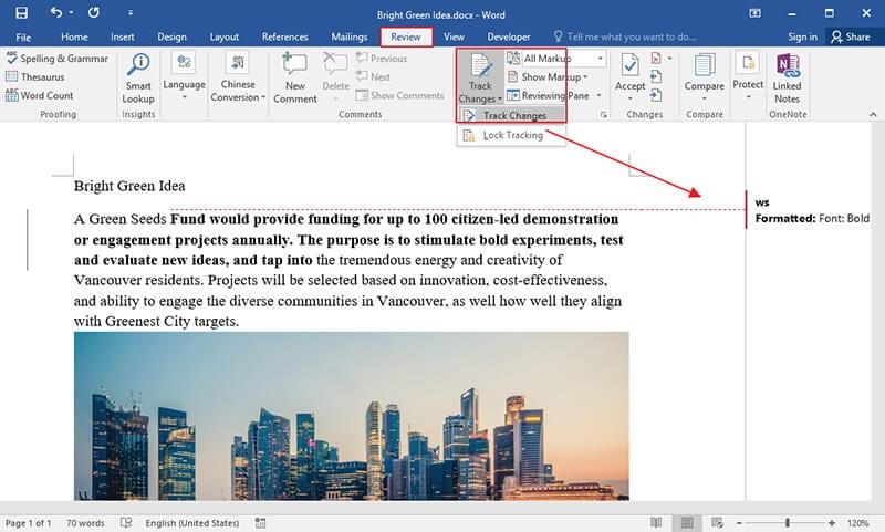 cómo desactivar cambios de pista en word