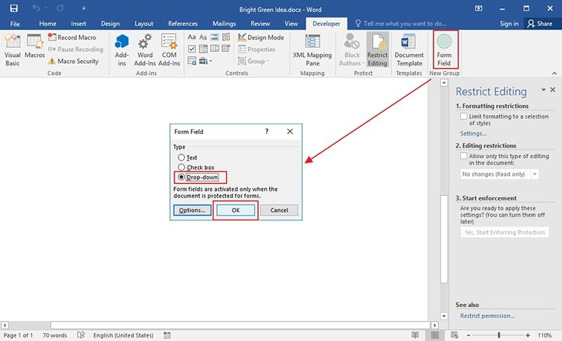 cuadro desplegable en Word