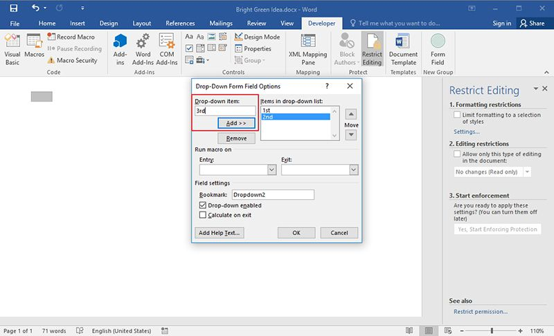 how to add drop down list in word