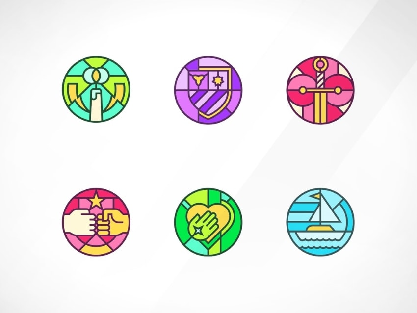 stained glass logo trend