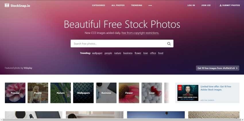 stocksnap website design