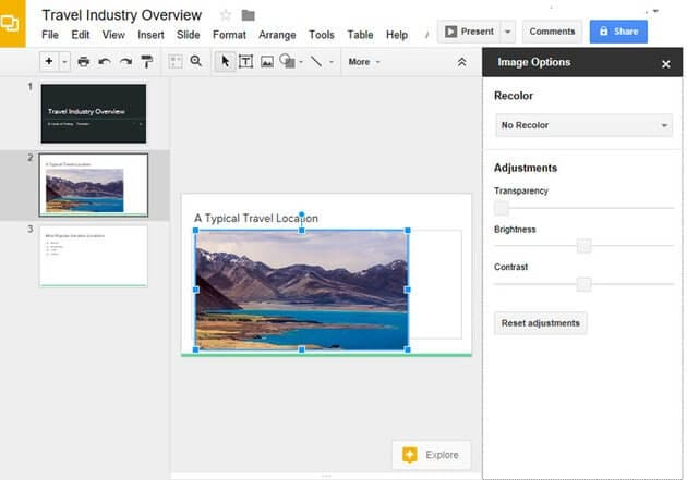 adjust image transparency google slides
