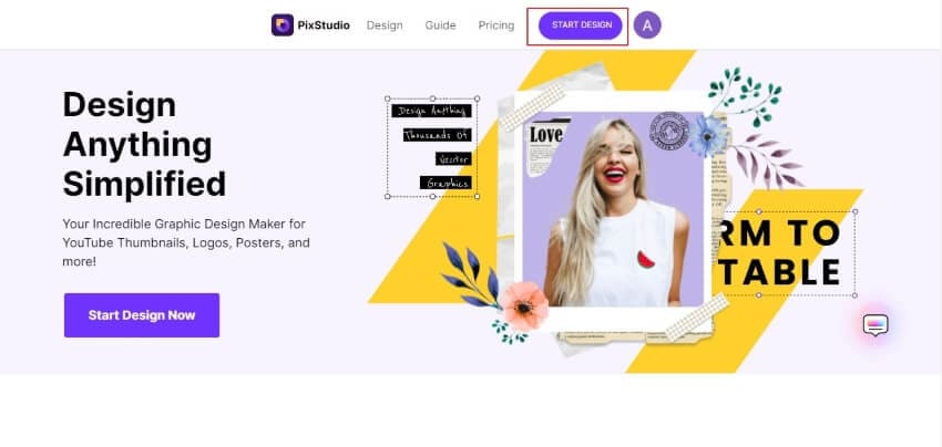 select the start design option