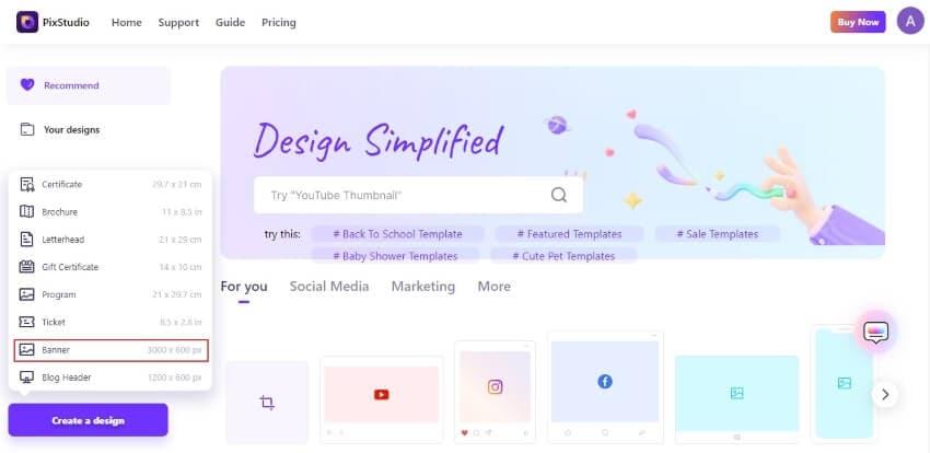 select banner option