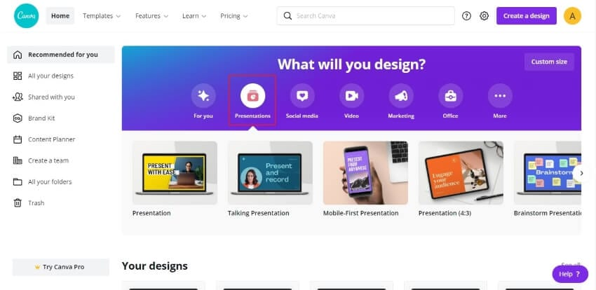 select presentation option