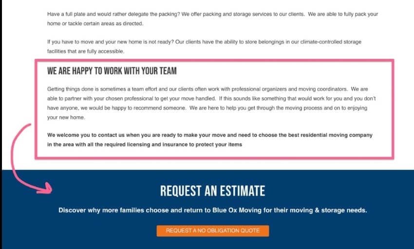 closing outline of landing page