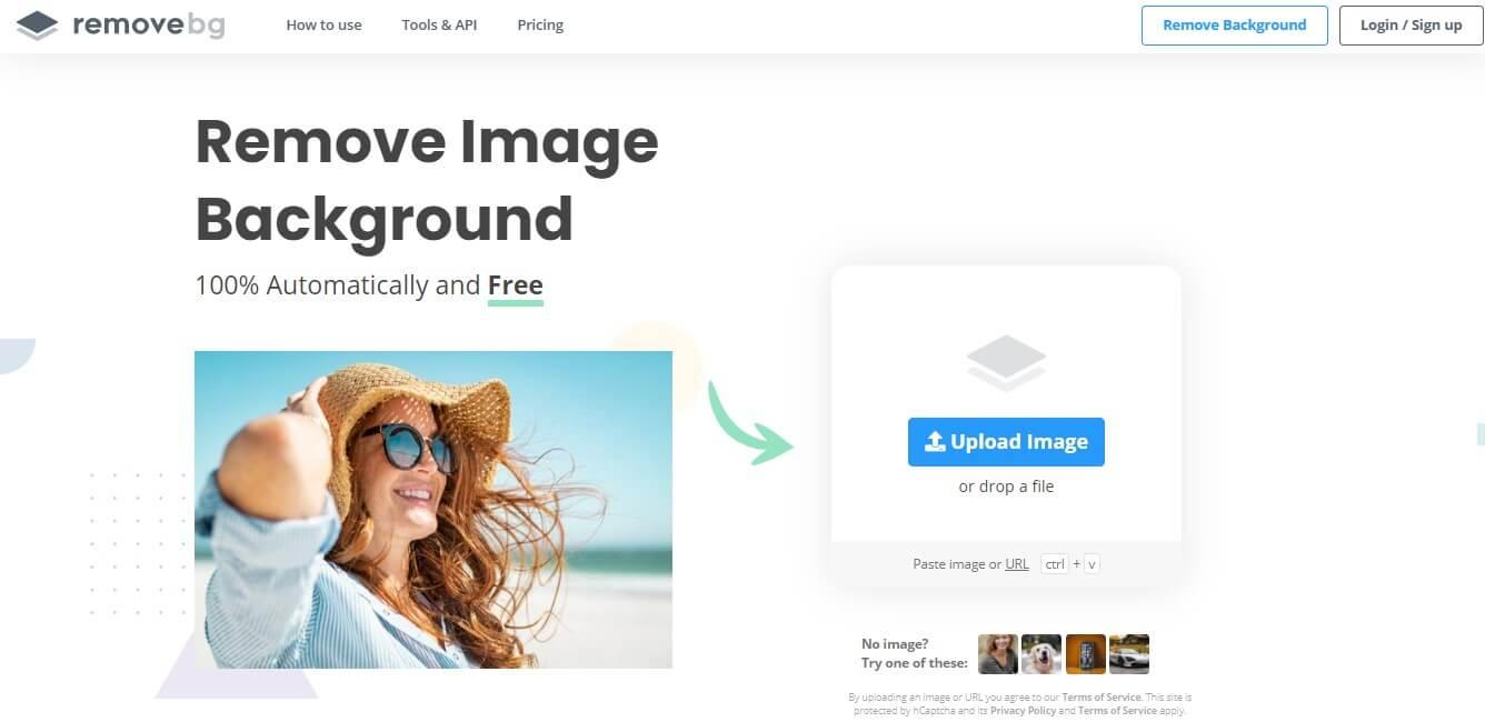 remove.bg homepage