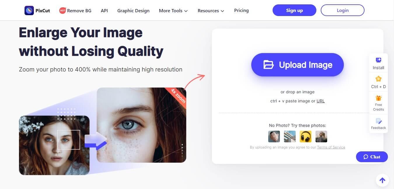 pixcut enlarge image tool