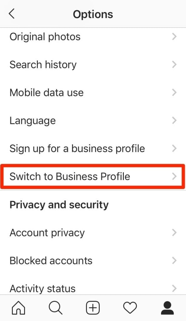 switch instagram to business profile