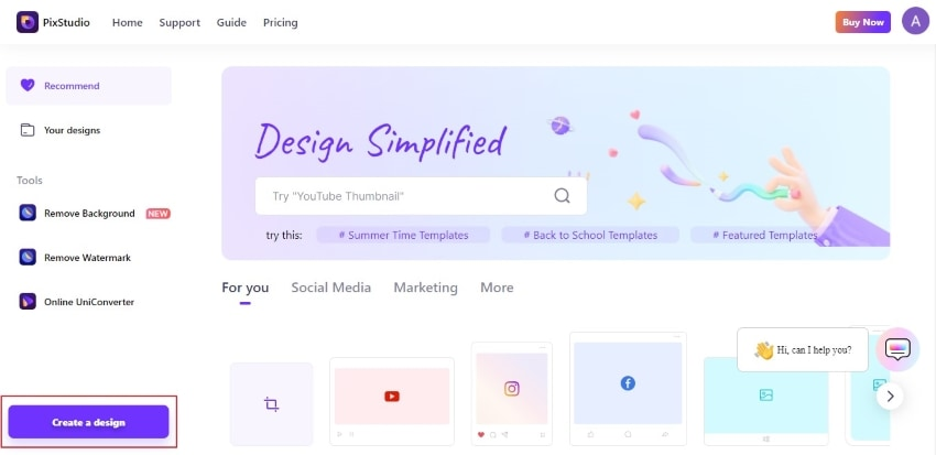 tap on create a design