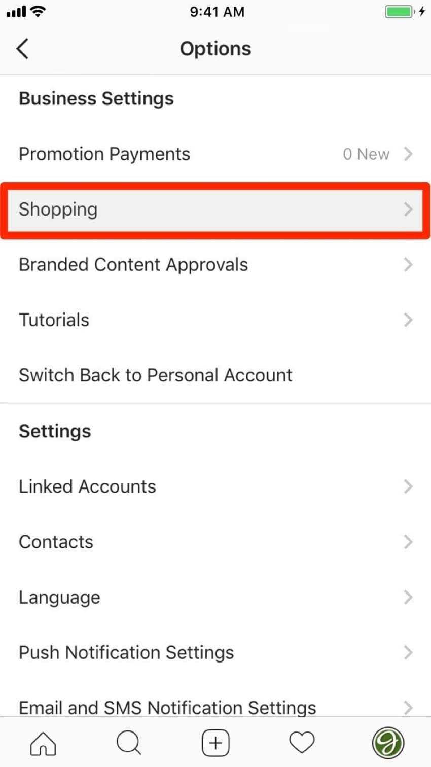 attach the facebook store with instagram