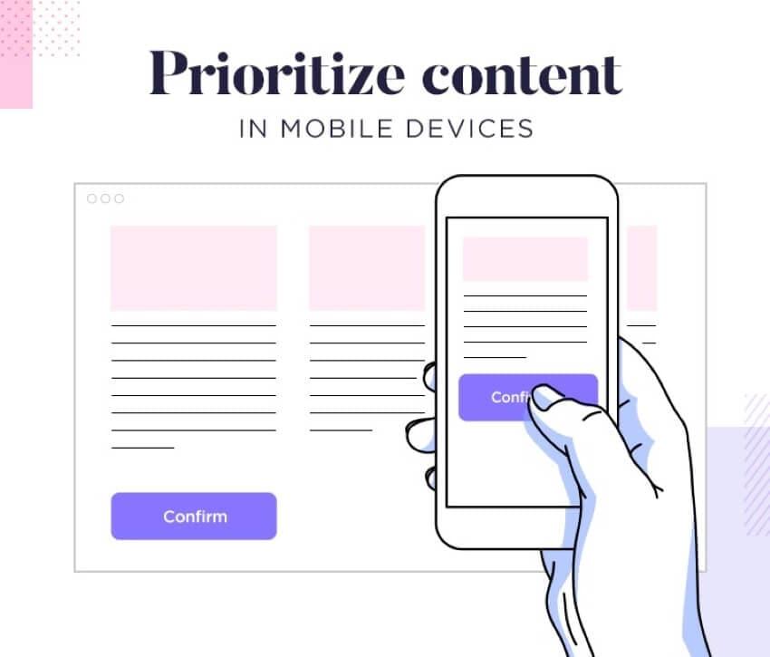 content in mobile friendly website design