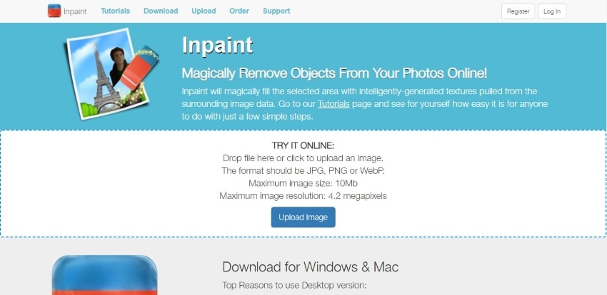 inpaint remover interface