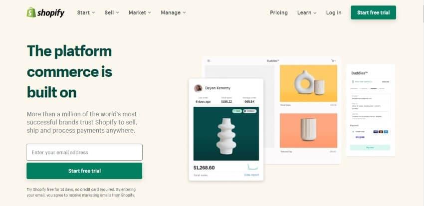 shopify website interface