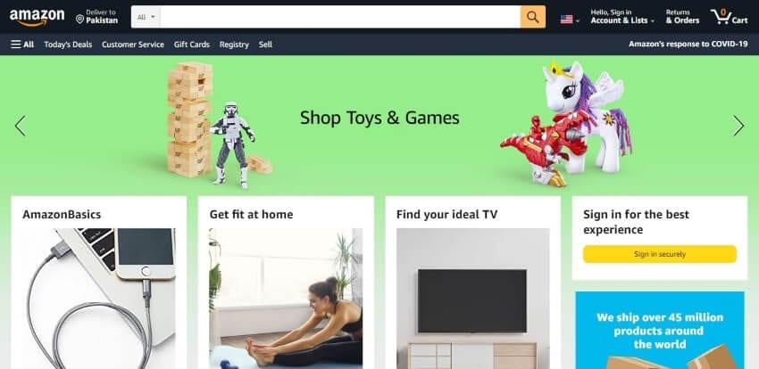 amazon website interface